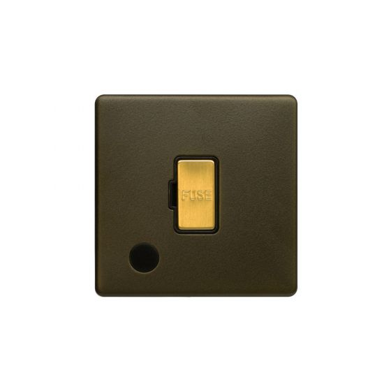 Soho Fusion Bronze & Brushed Brass 13A Unswitched Flex Outlet Black Inserts Screwless