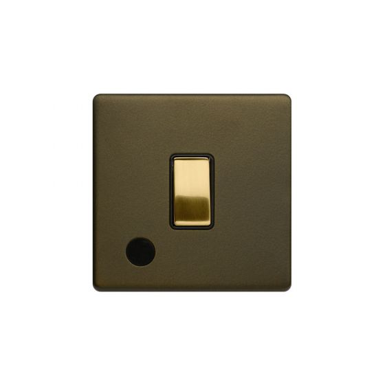 Soho Fusion Bronze & Brushed Brass 20A 1 Gang DP Switch Flex Outlet Black Inserts Screwless