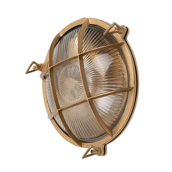 Carlisle Grid Prismatic Glass Lacquered Brass IP66 Bulkhead Wall Light - The Outdoor & Bathroom Collection