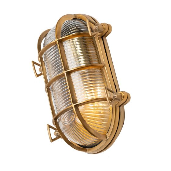 Flaxman Lacquered Brass IP66 Bulkhead Outdoor & Bathroom Wall Light