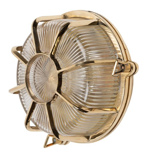Carlisle Polished Brass IP66 Web Prismatic Glass Light - The Outdoor & Bathroom Collection