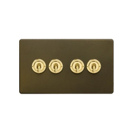 Soho Fusion Bronze & Brushed Brass 20A 4 Gang 2 Way Toggle Switch Screwless