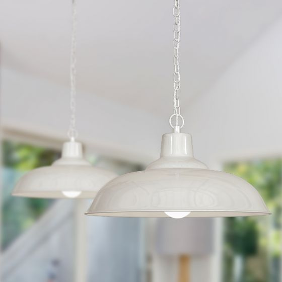 Portland Bedroom and Hallway Pendant Light Clay White Cream - Soho Lighting