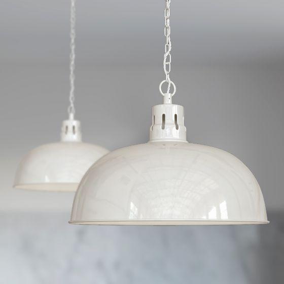 Berwick Rustic Dome Pendant Light Clay White Cream - Soho Lighting