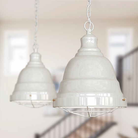 Ganton Cage Vintage Pendant Light Clay White Cream - Soho Lighting