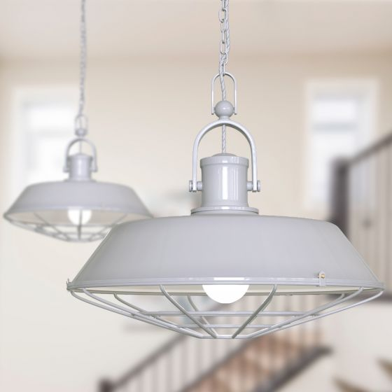 Brewer Cage Industrial  Pendant Light Pale Grey - Soho Lighting