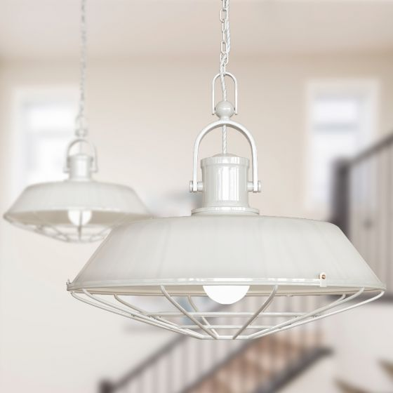 Brewer Cage Industrial  Pendant Light Clay White Cream - Soho Lighting