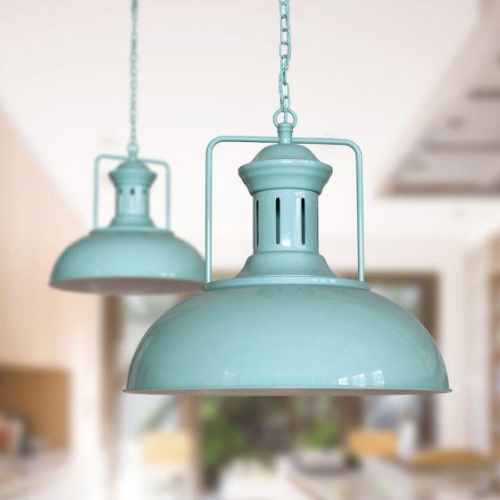 Regent Vintage Pendant Light Duck Egg Blue - Soho Lighting