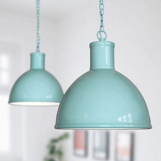 Wardour Industrial Bay Pendant Light Duck Egg Blue Turquoise - Soho Lighting