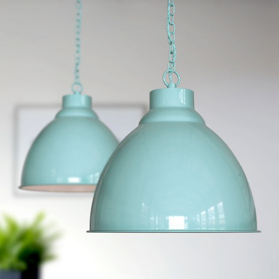Oxford Vintage Pendant Light Duck Egg Blue Turquoise - Soho Lighting