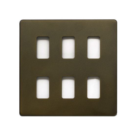 The Eton Collection Bronze 6 Gang Grid Plate Screwless