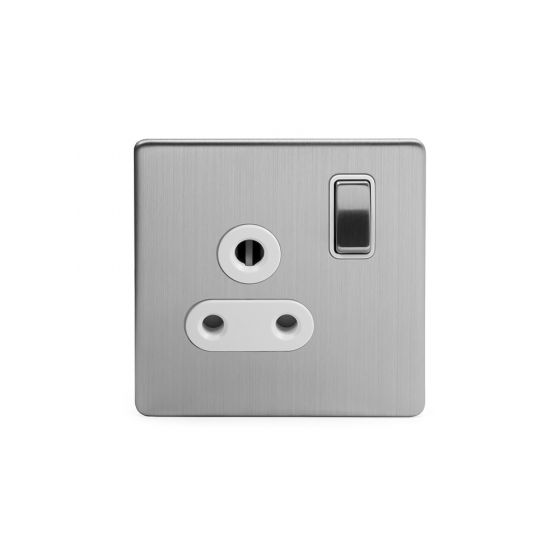 The Lombard Collection Brushed Chrome 5A Socket White Ins Switched Screwless