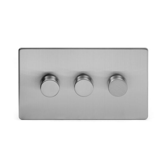 The Lombard Collection Brushed Chrome Luxury 3 Gang 2 Way Trailing Edge Dimmer 100W LED (250w Halogen/Incandescent)