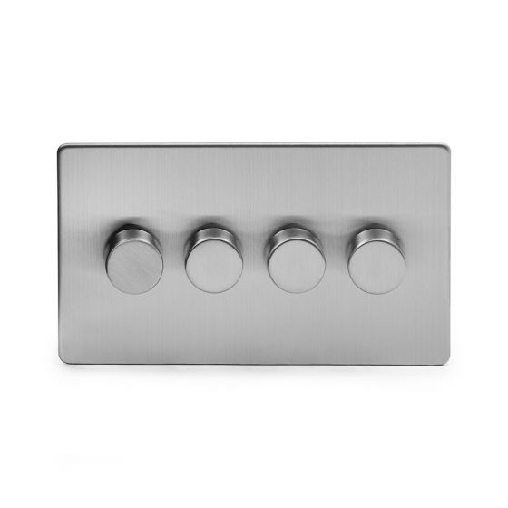 The Lombard Collection Brushed Chrome Luxury 4 Gang 2 Way Trailing Edge Dimmer