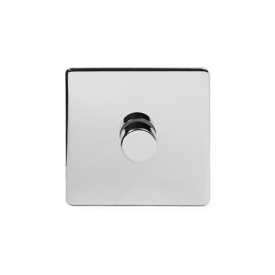 The Finsbury Collection Polished Chrome Luxury 1 Gang 2 Way Trailing Edge Dimmer 100W LED (250w Halogen/Incandescent)