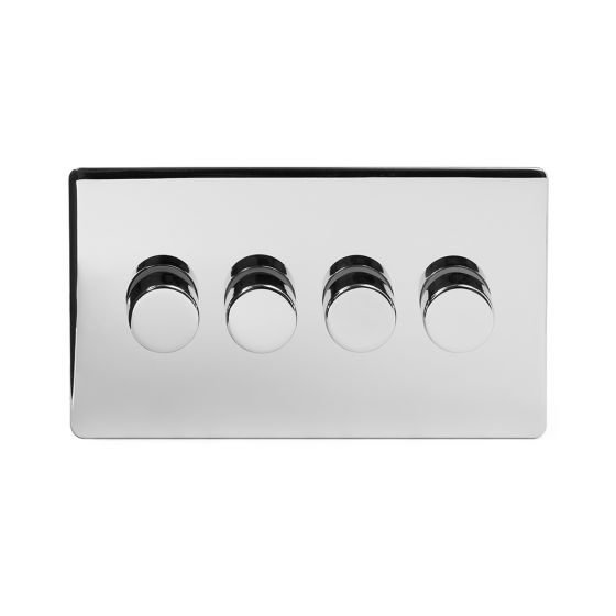 The Finsbury Collection Polished Chrome Luxury 4 Gang 2 Way Trailing Edge Dimmer