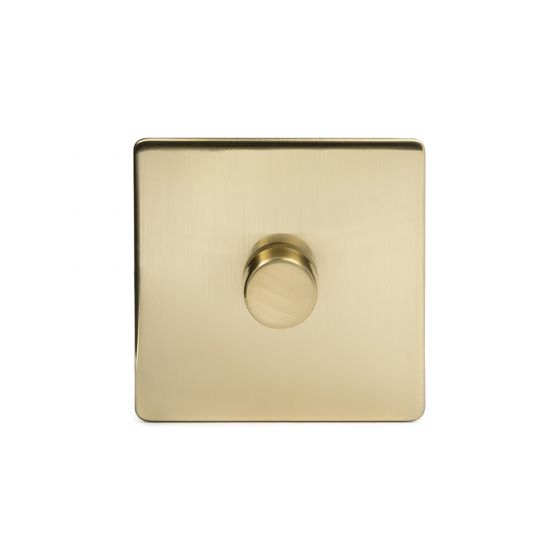 The Savoy Collection Brushed Brass Period 1 Gang 2 Way Trailing Edge Dimmer 100W LED (250w Halogen/Incandescent)