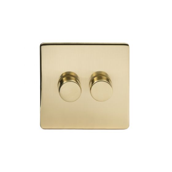 The Savoy Collection Satin Brass 2 Gang 2 Way 150W LED Trailing Edge Dimmer