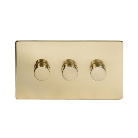 The Savoy Collection Brushed Brass Period 3 Gang 2 Way Trailing Edge Dimmer