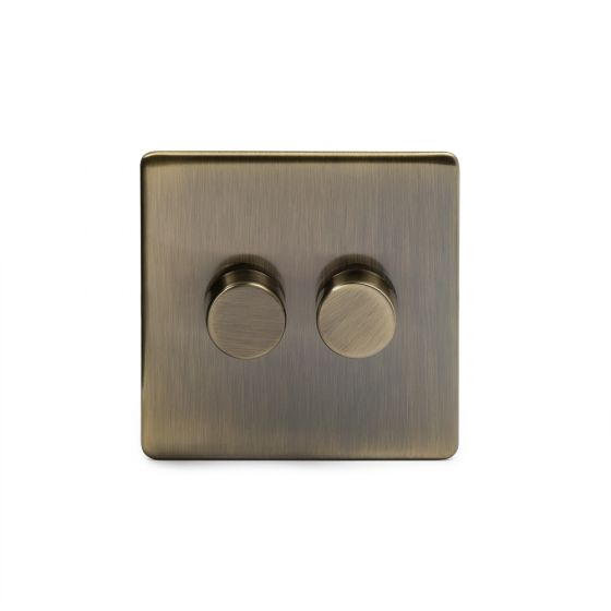 The Charterhouse Collection Aged Brass 2 Gang 2 Way Trailing Edge Dimmer 100W LED (250w Halogen/Incandescent)