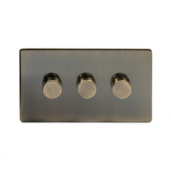 The Charterhouse Collection Aged Brass 3 Gang 2 Way Trailing Edge Dimmer 100W LED (250w Halogen/Incandescent)