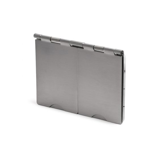 The Lombard Collection Brushed Chrome 2Gang Euro Module Floor Plate Blk Ins