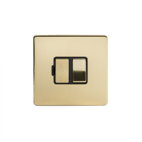 The Savoy Collection Brushed Brass Period 13A Double Pole Switched Fuse Connection Unit black insert
