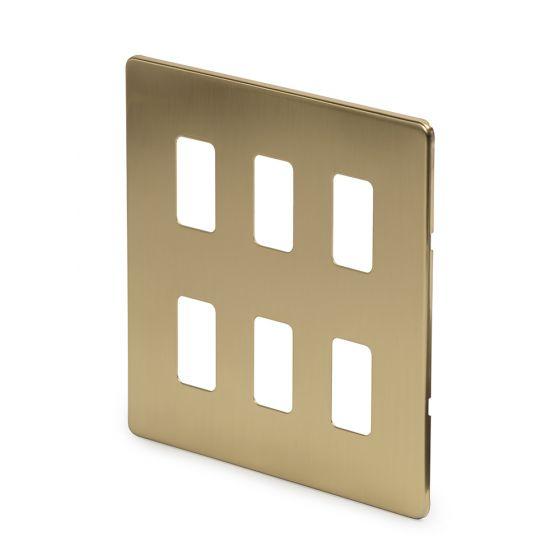 Soho-Lighting-Brushed-Brass-6-Gang-Grid-Plate