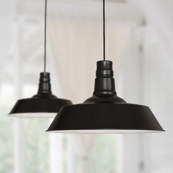 Large Argyll Industrial Pendant Light Matt Black - Soho Lighting