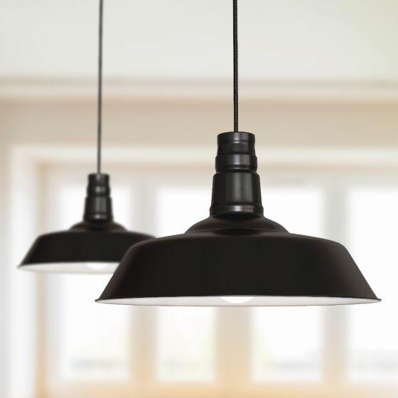 Argyll Industrial Pendant Light Matt Black - Soho Lighting