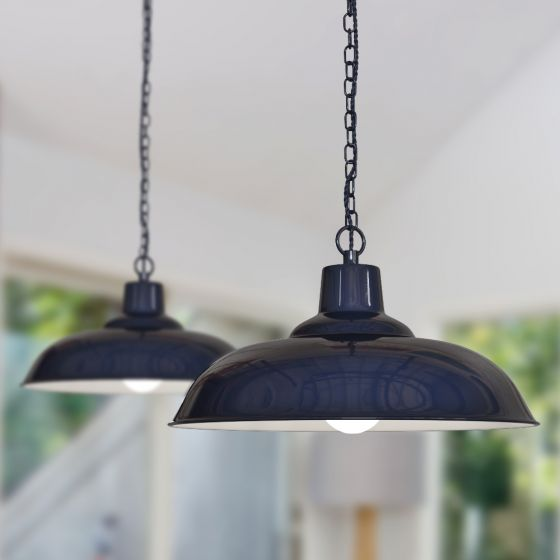 Portland Reclaimed Style Industrial Pendant Light Squid Ink Dark Blue - Soho Lighting