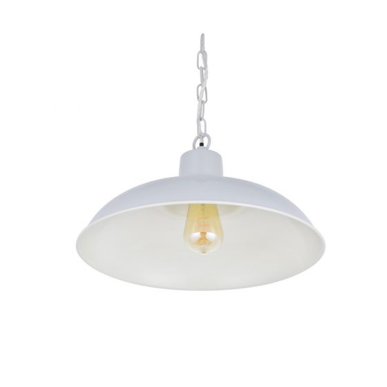 Portland Reclaimed Style Industrial Pendant Light Pale Grey