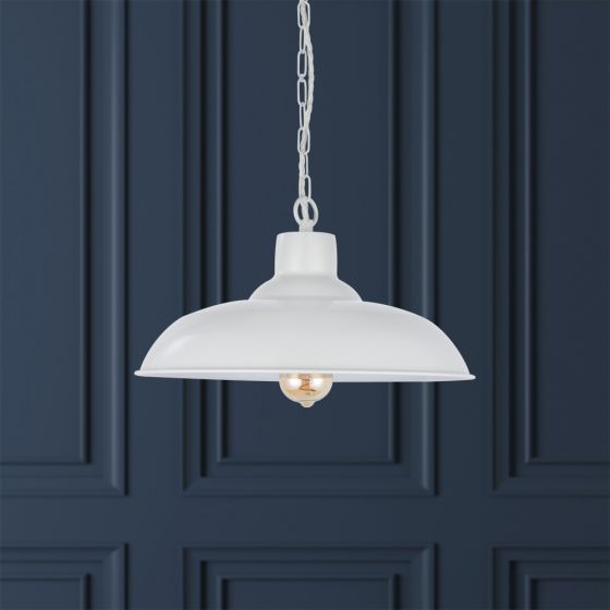 Portland Reclaimed Style Industrial Pendant Light Clay White