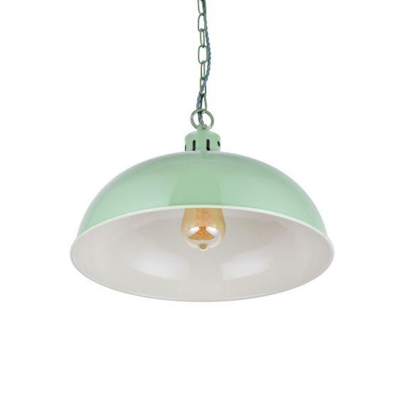 Berwick Rustic Dome Pendant Light Chalk Green