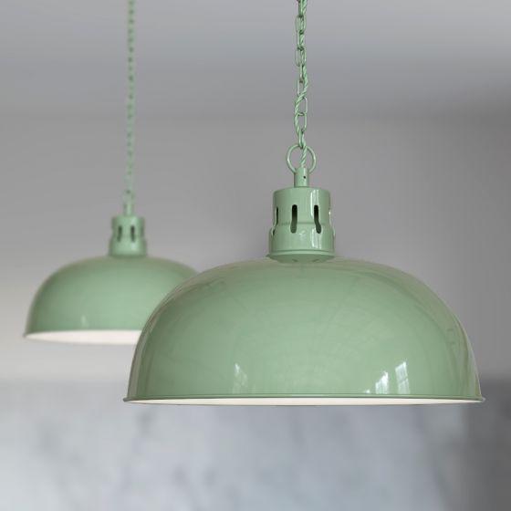 Berwick Rustic Dome Pendant Light Chalk Mint Green - Soho Lighting