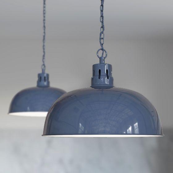 Leaden Grey Slate Rustic Dome Pendant Light - Berwick - Soho Lighting
