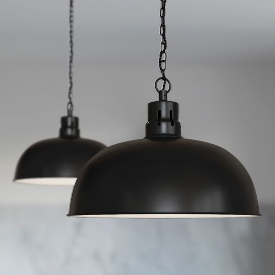 Berwick Rustic Dome Pendant Light Matt Black - Soho Lighting