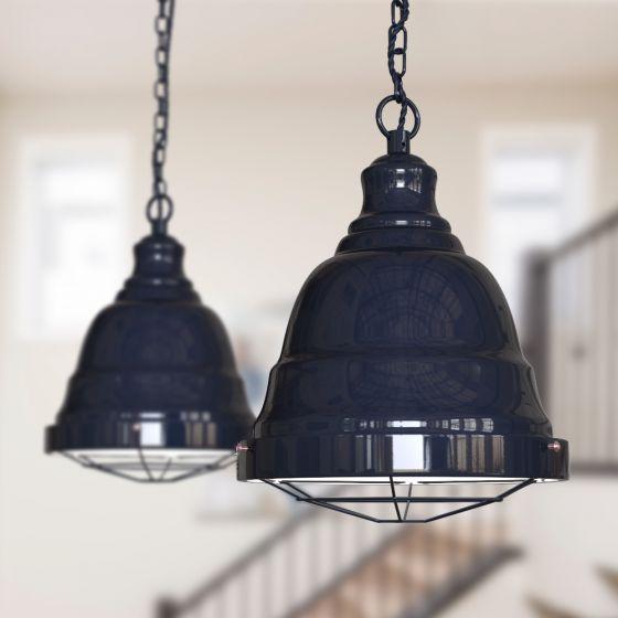 Ganton Vintage Cage Pendant Light Squid Ink Dark Blue - Soho Lighting