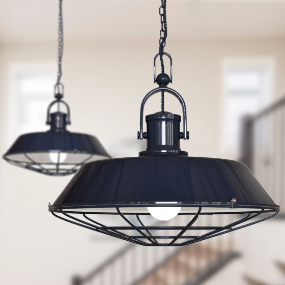 Brewer Cage Industrial Pendant Light Squid Ink Dark Blue - Soho Lighting