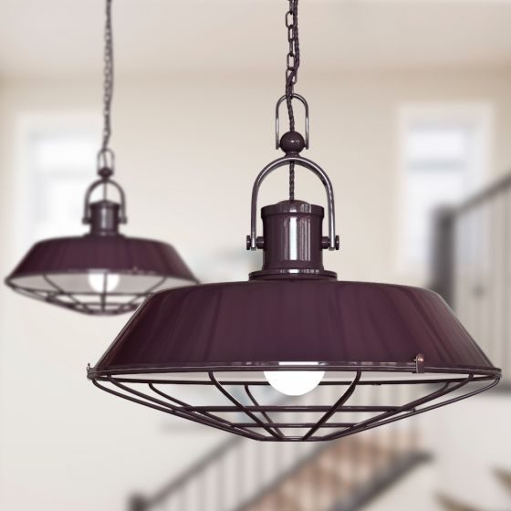 Brewer Cage Industrial  Pendant Light Mulberry Red Maroon - Soho Lighting