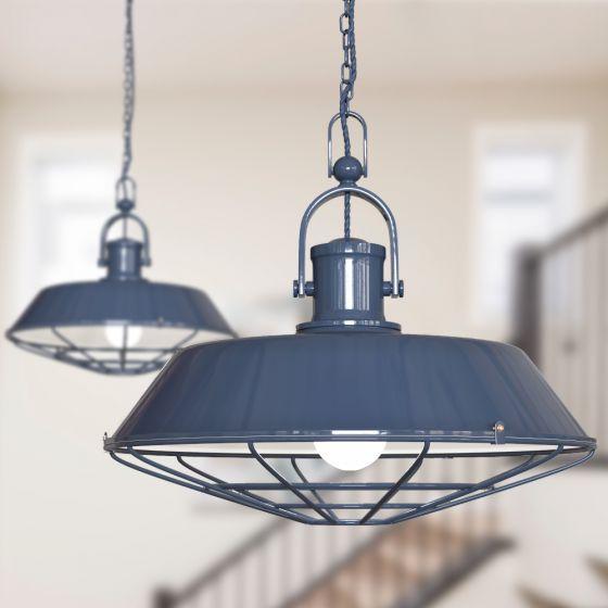 Brewer Cage Industrial  Pendant Light Leaden Grey Slate - Soho Lighting