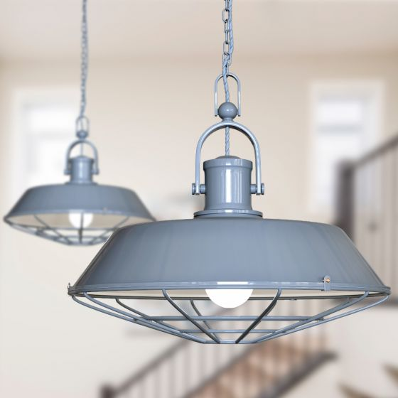 Brewer Cage Industrial  Pendant Light French Grey - Soho Lighting