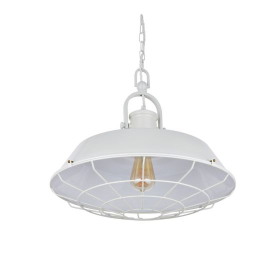 Brewer Cage Industrial  Pendant Light Clay White