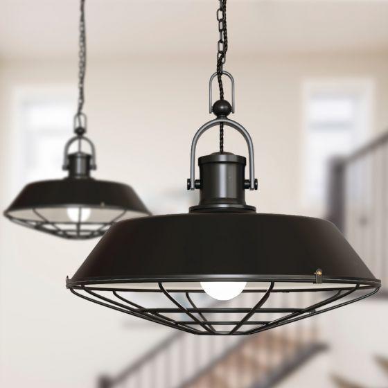 Brewer Cage Industrial  Pendant Light Matt Black - Soho Lighting