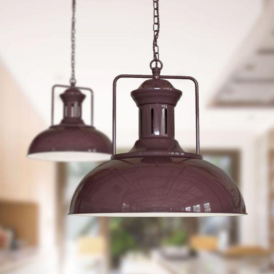 Regent Vintage Kitchen Pendant Light Mulberry Red Maroon - Soho Lighting