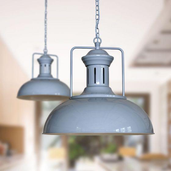 Regent Vintage Pendant Light French Grey - Soho Lighting