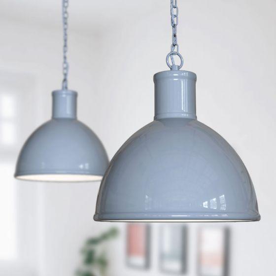 Wardour Industrial Bay Pendant Light French Grey - Soho Lighting