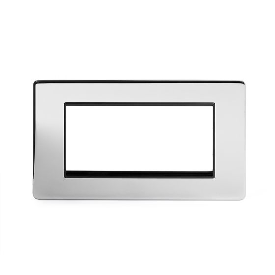 The Finsbury Collection Polished Chrome Luxury metal Double Data Plate 4 Modules Black Insert