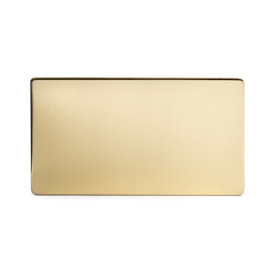 The Savoy Collection Brushed Brass Period metal Double Blanking Plates