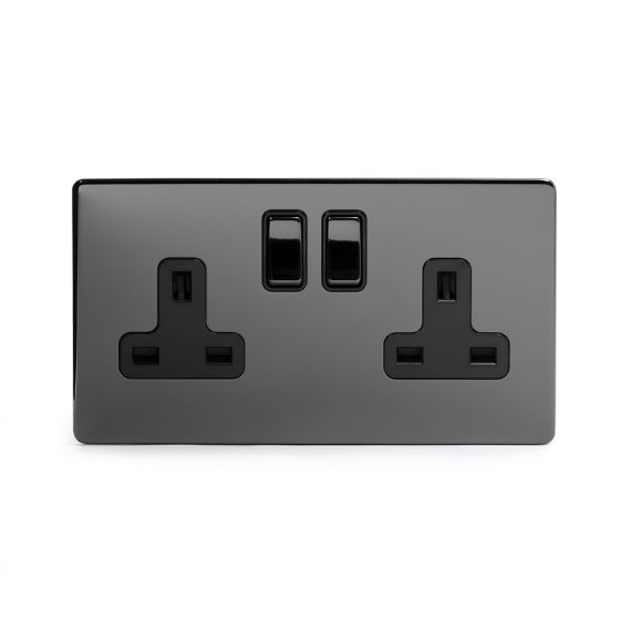 Black Nickel Double Screwless Socket